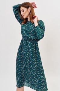 Зеленое платье миди с цветочным принтом и длинными рукавами купить в интернет-магазине