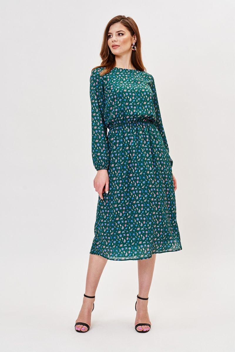 Зеленое платье миди с цветочным принтом и длинными рукавами заказать с примеркой