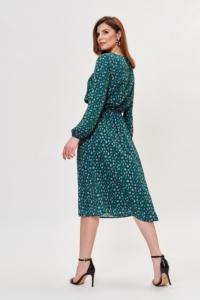 Купить Зеленое платье миди с цветочным принтом и длинными рукавами с доставкой и примеркой
