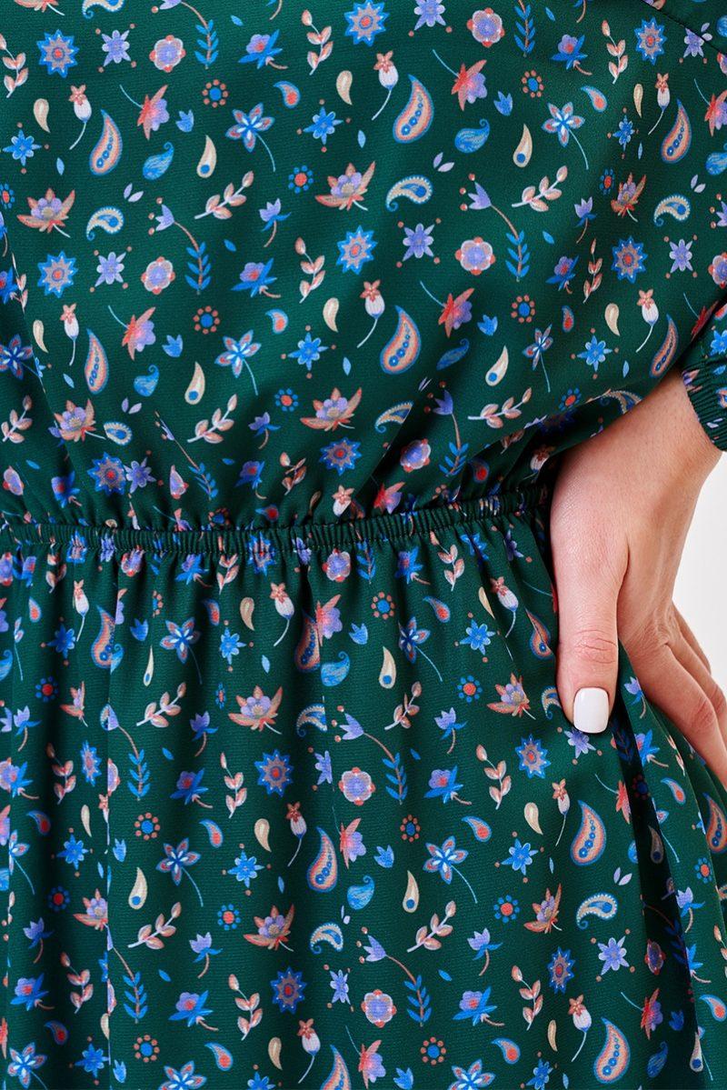 Заказать онлайн Зеленое платье миди с цветочным принтом и длинными рукавами с примеркой
