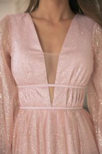 Пудровое платье миди с пышной юбкой и длинными рукавами с примеркой заказать