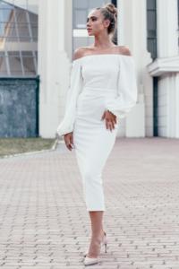Свадебное Белое платье миди с открытыми плечами и пышными рукавами купить в интернет-магазине