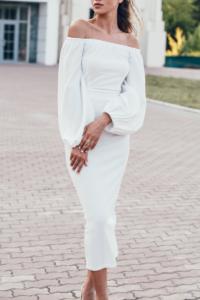 Свадебное Белое платье миди с открытыми плечами и пышными рукавами заказать с примеркой