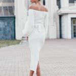 Белое платье миди с открытыми плечами и пышными рукавами zd01998wh-4