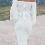 Белое платье миди с открытыми плечами и пышными рукавами zd01998wh-5