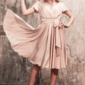 Заказать Бежевое платье в греческом стиле из шелка длины миди с примеркой