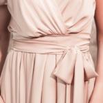Бежевое платье в греческом стиле из шелка длины миди 4