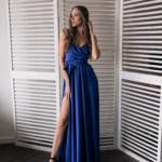Синее вечернее платье в греческом стиле на тонких бретелях zd00553bl-1