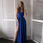 Синее вечернее платье в греческом стиле на тонких бретелях в интернет-магазине купить
