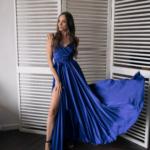 Синее вечернее платье в греческом стиле на тонких бретелях zd00553bl-2